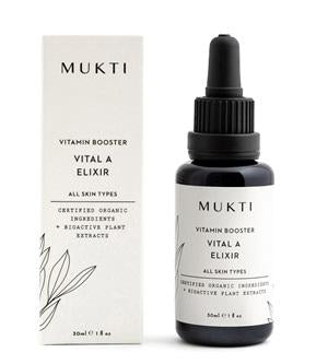 Australian Certified Organic Skincare. Shop Mukti Vitamin Booster Vital A Elixir 30ml at One Fine Secret, Natural & Organic Skincare Makeup Clean Beauty Store Melbourne Australia