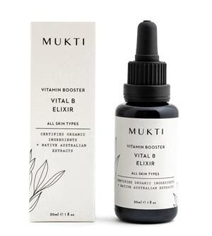 Australian Certified Organic Skincare. Shop Mukti Vitamin Booster Vital B Elixir 30ml at One Fine Secret, Natural & Organic Skincare Makeup Clean Beauty Store Melbourne Australia