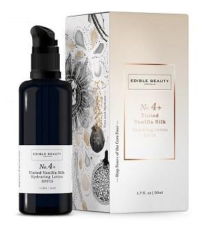 Edible Beauty Cream & Moisturiser, Suncare Buy Edible Beauty No.4+ Tinted Vanilla Silk Hydrating Lotion SPF15 50ml at One Fine Secret. Official Stockist in Melbourne, Australia.