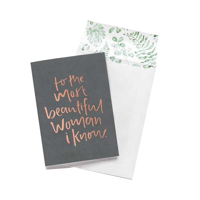 Emma Kate Co. Greeting Card - To The Most Beautiful Woman I Know. Clean Beauty Store One Fine Secret