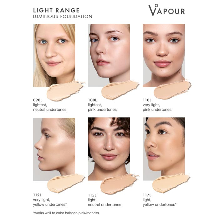Vapour Beauty Luminous Foundation Stick Light Colour Shade Chart. Official Australian Stockist One Fine Secret Melbourne