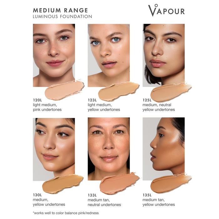 Vapour Beauty Luminous Foundation Stick Medium Colour Shade Chart. Official Australian Stockist One Fine Secret Melbourne
