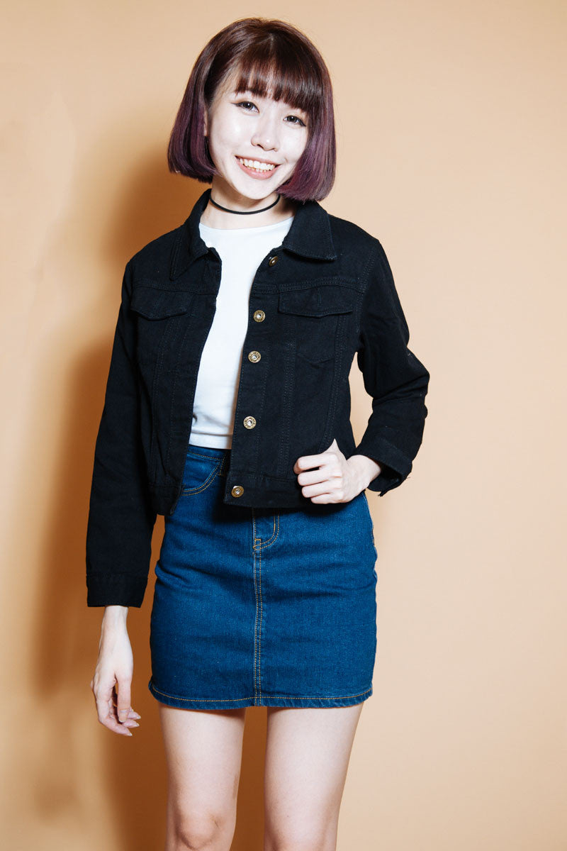 Maison Black Denim Cropped Jacket – Room 11