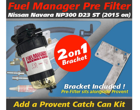 Nissan Navara 2015-on NP300 2.3L - Fuel Manager Pre Filter Dual Bracket Kit OS-17-FMB