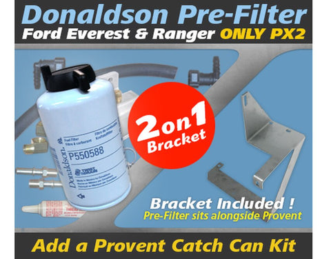 Ford Everest 2017-on & Ranger 2015-18 ONLY PX2 2.2L 3.2L TDCi 5Cyl P5AT - Donaldson Pre Filter Fuel Water Separator Dual Bracket Kit OS-20-FSB