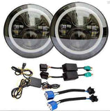 7 inch ROUND LED headlight x 2 new projector lens high output DRL Halo