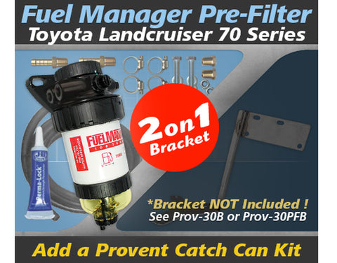 Toyota Landcruiser 70 Series 2007-on - Fuel Manager Pre Filter Dual Bracket Kit OS-30-FM