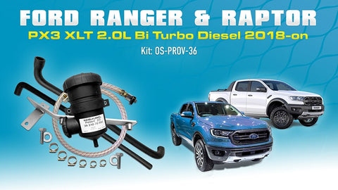 Ford Ranger & Raptor 2018-on PX3 XLT EcoBlue 2.0L Bi Turbo CRi Diesel - Mann ProVent Oil Catch Can Kit OS-PROV-36