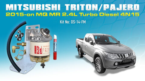 Mitsubishi Triton MQ MR 2.4L 4N15 / Mitsubishi Pajero Sports 2016-on - Racor Parker Pre Filter Water Separator Kit (10 or 30 micron) OS-14-RAC