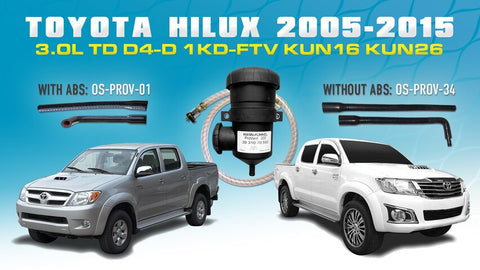 Provent Kit: WITH or WITHOUT ABS for Toyota Hilux 3.0L TD KUN16 KUN26 1KD-FTV 2005-15 - Provent Oil Catch Can Kit OS-PROV-HILUX