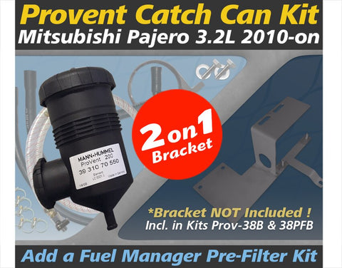 Mitsubishi Pajero 3.2L 4M41 2010-on DI-D TD - Provent Oil Catch Can Dual Bracket Kit - add a Pre-Filter OS-PROV-38