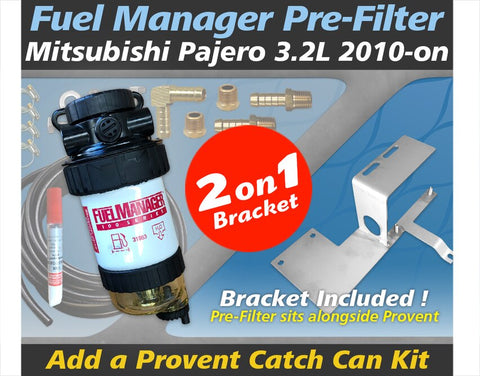 Mitsubishi Pajero 3.2L 4M41 2010-on - Fuel Manager Pre Filter / Provent Catch Can Dual Bracket Kit OS-38-FMB