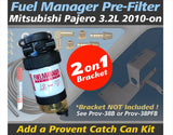 Mitsubishi Pajero 3.2L 4M41 2010-on - Fuel Manager Pre-Filter Kit / pairs with Provent Catch Can Dual Bracket Kit OS-38-FM
