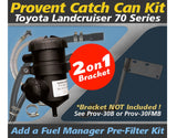 Toyota Landcruiser 70 Series 2007-on Single & Dual Battery - ProVent Oil Catch Can Dual Bracket Kit OS-PROV-30
