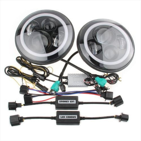 LANDROVER DEFENDER 7 inch LED headlight x 2 new projector lens DRL Halo