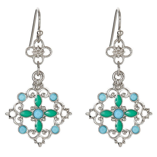 BOHEME Turquoise Drop Earrings - Silver - VarietasPurses - 1