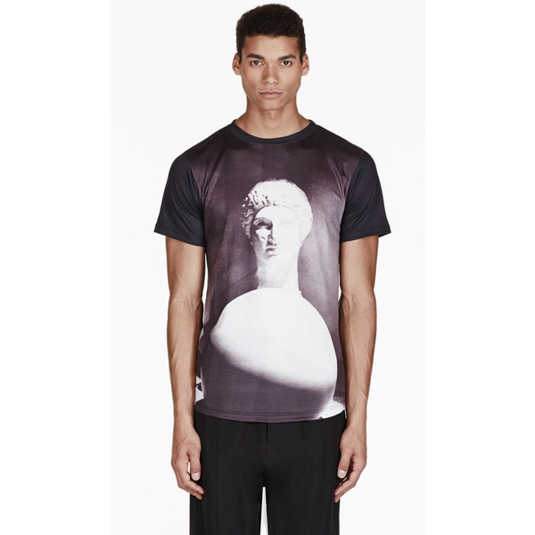 En Noir Men's Black Ancient White Ball Print T-Shirt - Sovranity