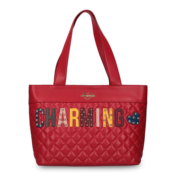 "Love Moschino Red Quilted Tote ""CHARMING"""