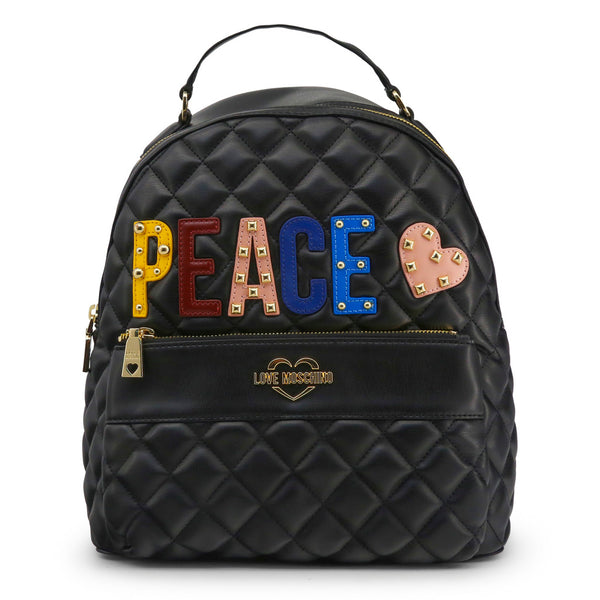 "Love Moschino Womens Black Quilted Backpack ""PEACE"""
