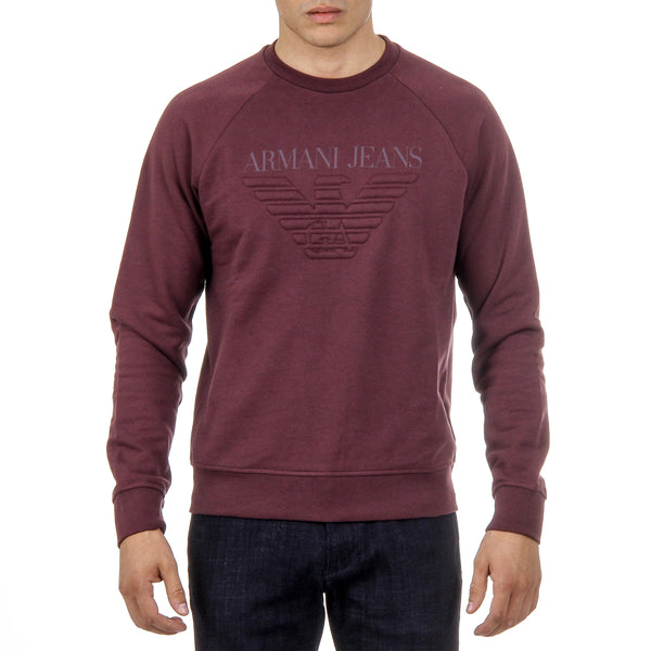 Armani Jeans Mens Sweater Long Sleeves Round Neck Bordeaux 3Y6M03 6J0BZ 1494