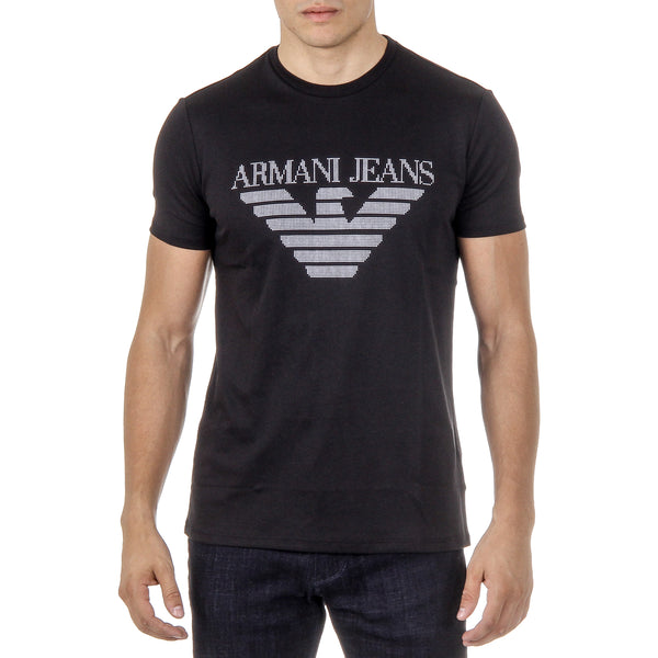 Armani Jeans Mens T-Shirt Short Sleeves Round Neck Black 3Y6T52 6JPRZ 1200