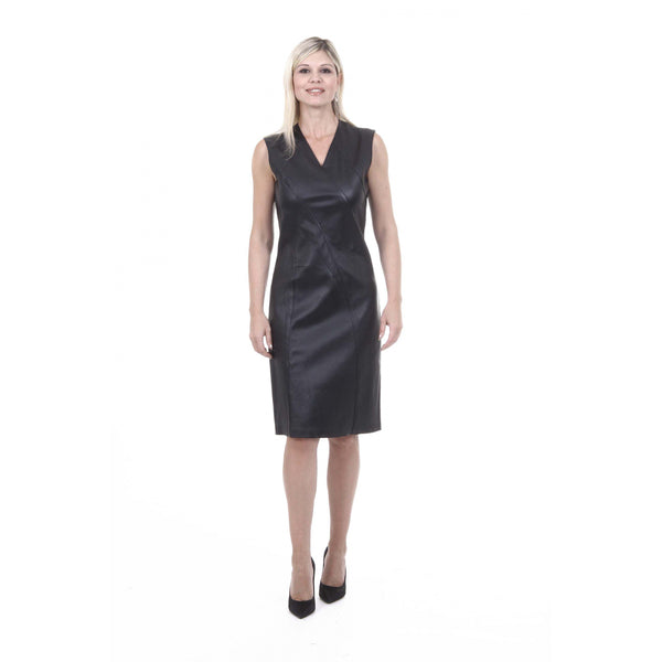 Bottega Veneta Womens Black Formal Knee Length Leather Dress