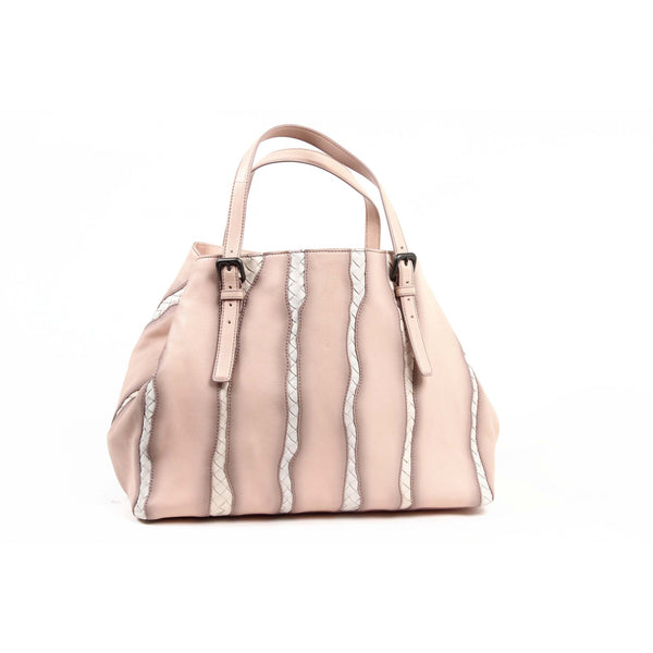 Bottega Veneta Womens Flamingo Intrecciato Glimmer Tote Bag in Light Pink