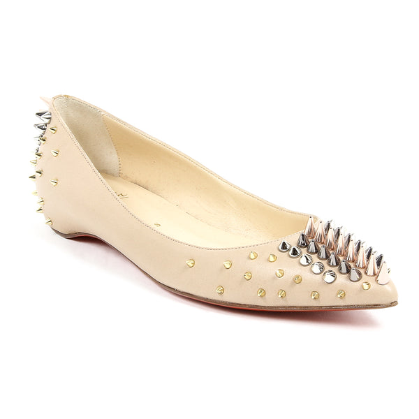 Christian Louboutin Womens Light Pink Ballerina Shoes With Spikes