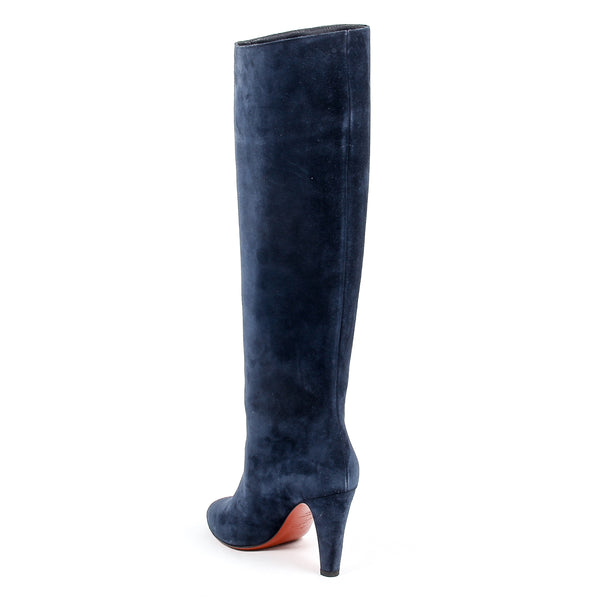 Christian Louboutin Womens Blue Suede High Boot DORIFIFA 85 VEAU VELOUR
