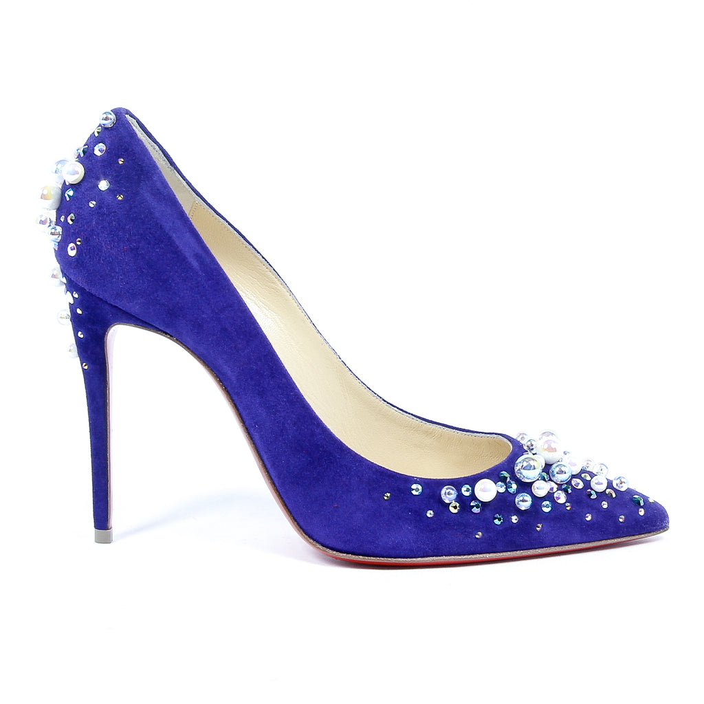 Christian Louboutin Womens Blue Suede Stiletto Pumps