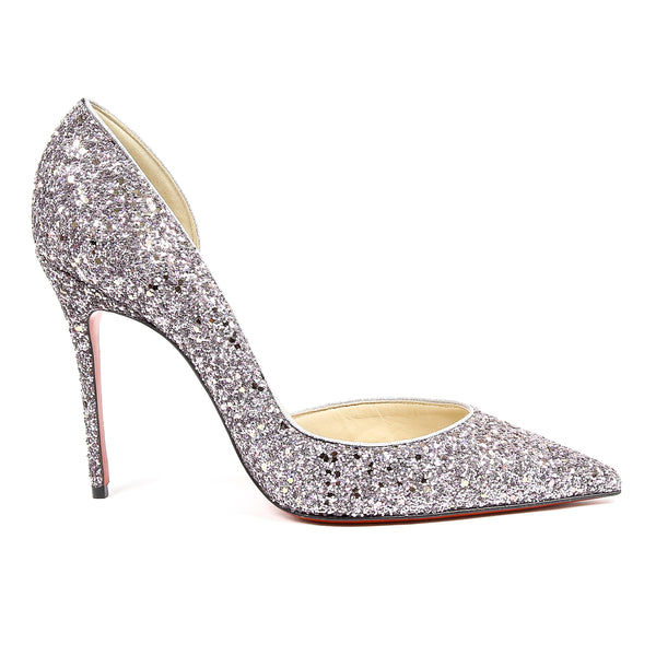 Christian Louboutin GLITTER ENCRUSTED PUMPS LEATHER IRIZA 100