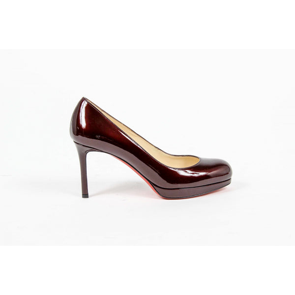 Christian Louboutin Womens Pump NEW SIMPLE PUMP 85 METAL PATENT R022 ROUGE NOIR