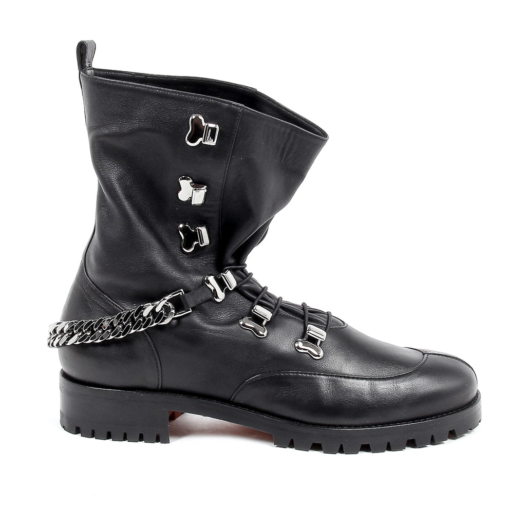 Christian Louboutin Womens Black Leather Short Boot HORSE GUARDA FLAT CALF