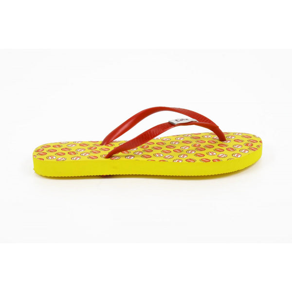 Coca Cola ladies yellow flip flops