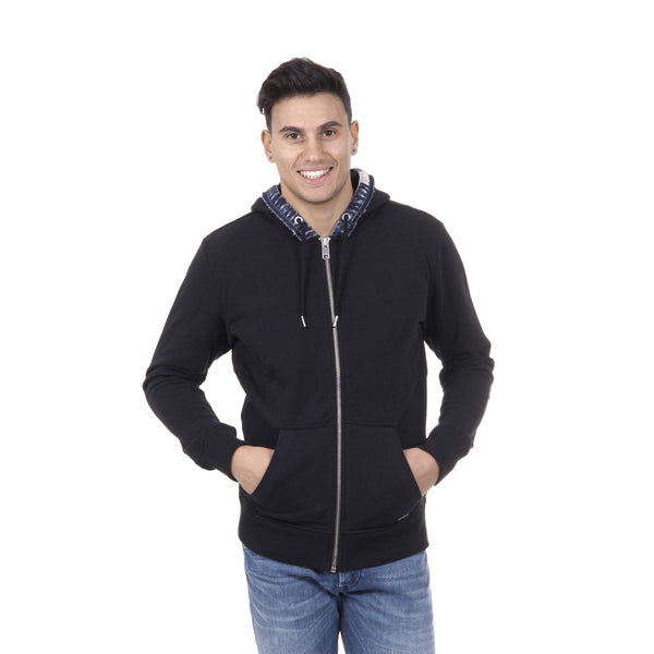 Diesel Mens Black Sweater with Zip Closure