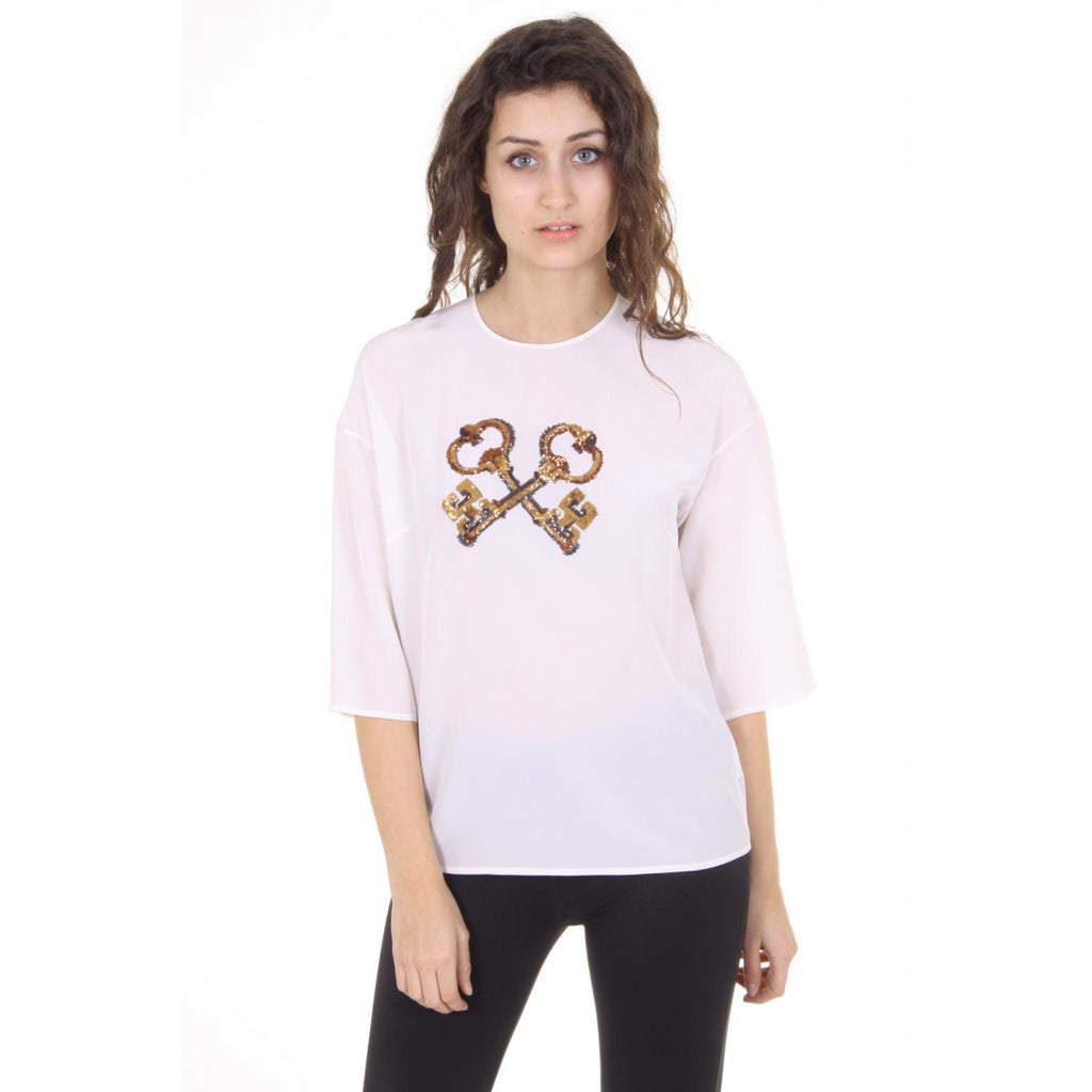 Dolce & Gabbana ladies silk blouse with keys print - Sovranity