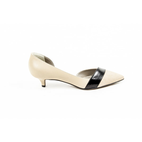 Kiton Womens Pump Open Side D39809 VIP 2199 BEIGE NERO - Sovranity