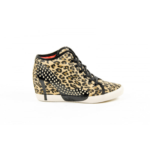 Olo Womens High Sneaker 28C12 28 ADRIANA CANVAS GOLD PRINTING STUDS - Sovranity