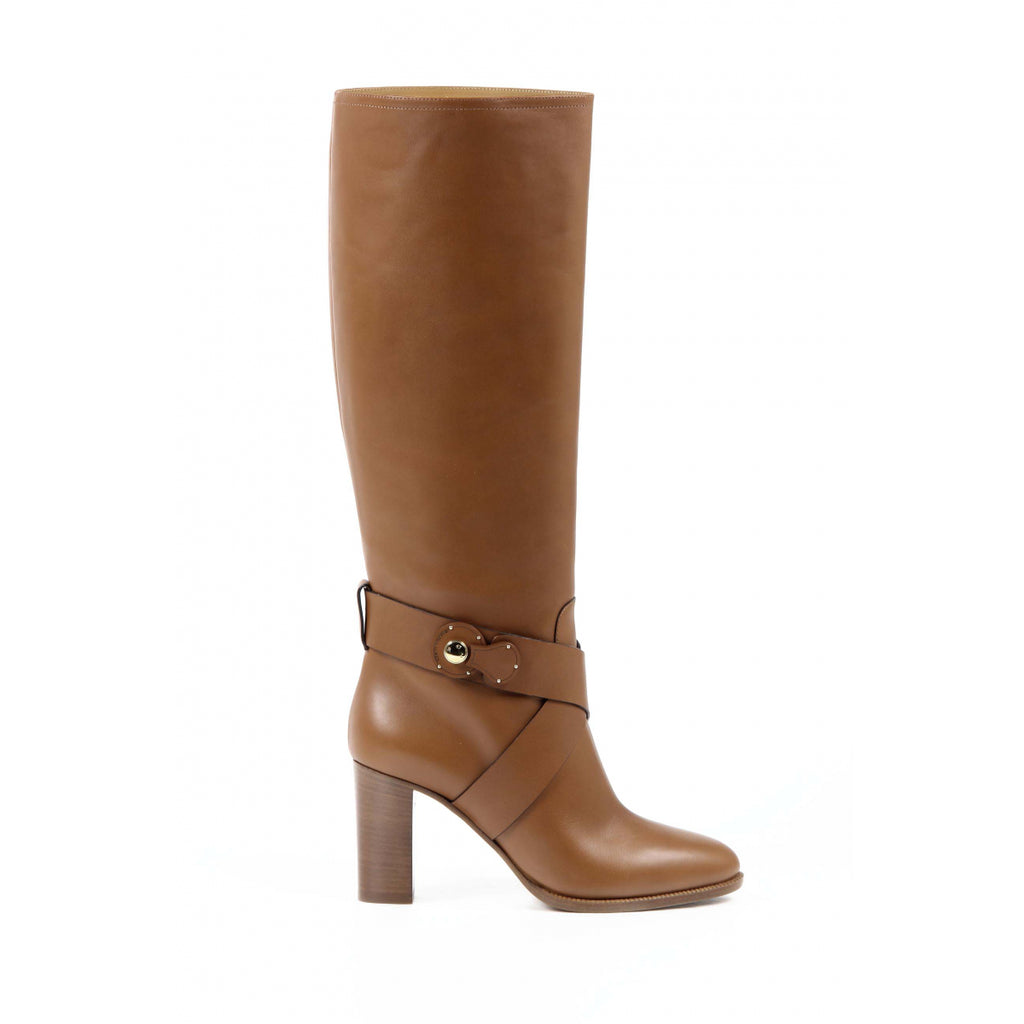 Ralph Lauren Brown High Boot MEARA SPORT Calf Leather - Sovranity