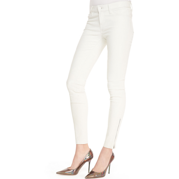 "J BRAND L8001 ""SUPER SKINNY"" Lamb LEATHER ZIPPER LEGGING, GHOST WHITE - Sovranity"