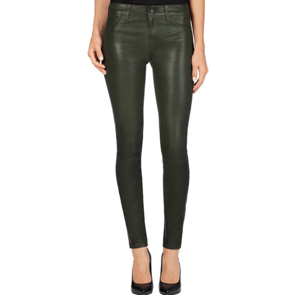 J Brand LAMB LEATHER SUPER SKINNY PANTS Color Dark Green Alpine - VarietasPurses - 1