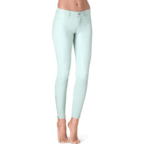 J Brand Super Skinny Leather Jeans L8001 Mint Green Pastel - Sovranity
