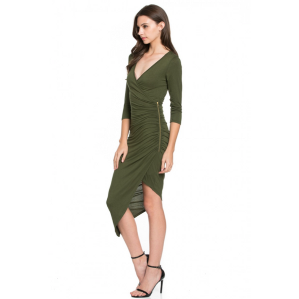 Bodycon Solid 3/4 SLEEVE DEEP V NECK DRESS WITH SIDE ZIPPER - VarietasPurses - 1