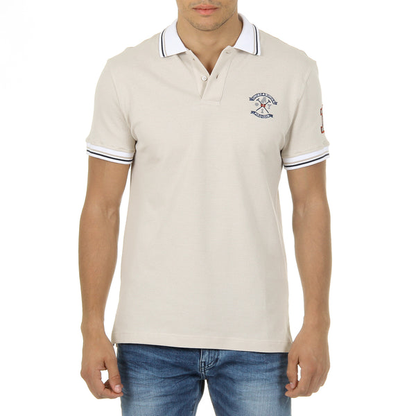 Ufford & Suffolk Polo Club Mens Polo Short Sleeves Beige FURIA