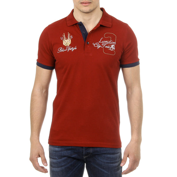 Ufford & Suffolk Polo Club Mens Polo Short Sleeves US005 BORDEAUX