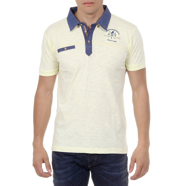 Ufford & Suffolk Polo Club Mens Polo Short Sleeves US007B YELLOW