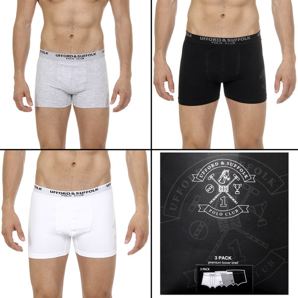 Ufford & Suffolk Polo Club Mens Three pack boxer trunk US200