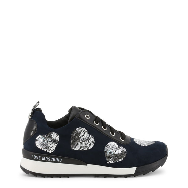 Love Moschino Womens petroli sneakers with hearts