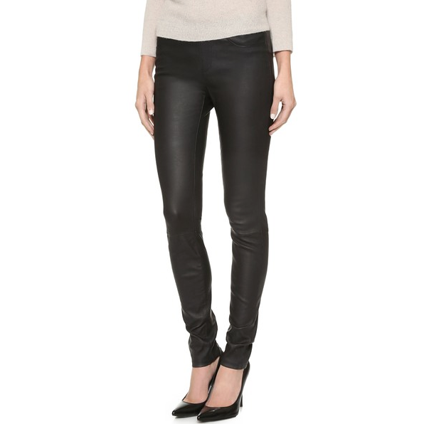 Helmut Lang Women's Stretch Black Leather Legging Pant - Sovranity