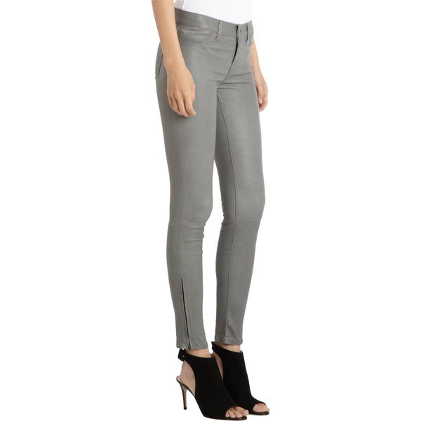 J BRAND SUPER SKINNY LEATHER JEANS L8001 Color Grey Cement - Sovranity